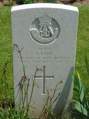 Major J Low's CWGC headstone.