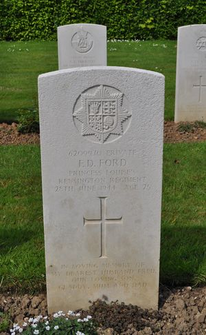 CWGC Headstone for Private Frederick Davis FORD, 2nd Kensingtons.