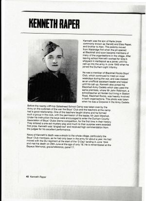 Pte Kenneth Raper as a Corporal in the Army Cadets.