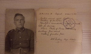 Cpl Alfred Moses Bailey with attached notes on his medical condition.