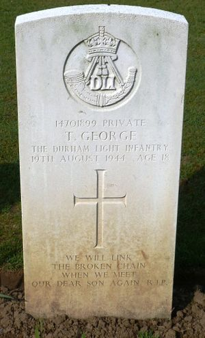 Pte T George's CWGC headstone.