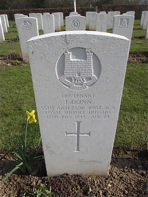 CWGC Headstone Captain John Dunn, 55th Anti-Tank Regiment.