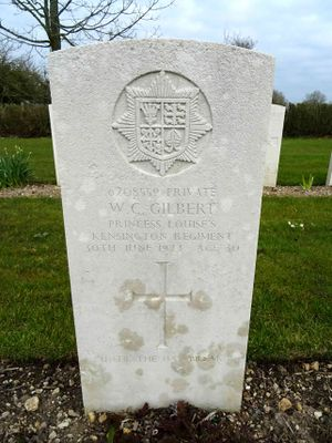 CWGC Headstone for Private Walter Charles GILBERT, 2nd Kensingtons.